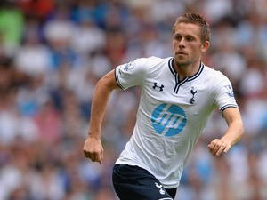 Gylfi Sigurdsson of Tottenham in action during a pre season friendly match between Tottenham Hotspur and Espanyol at White Hart Lane on August 10, 2013