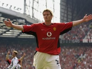 Ole Gunnar Solskjaer celebrates a goal against West Bromwich Albion.