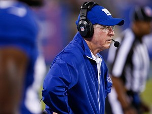 New York Giants head coach Tom Coughlin on the sidelines during his team's pre-season match against