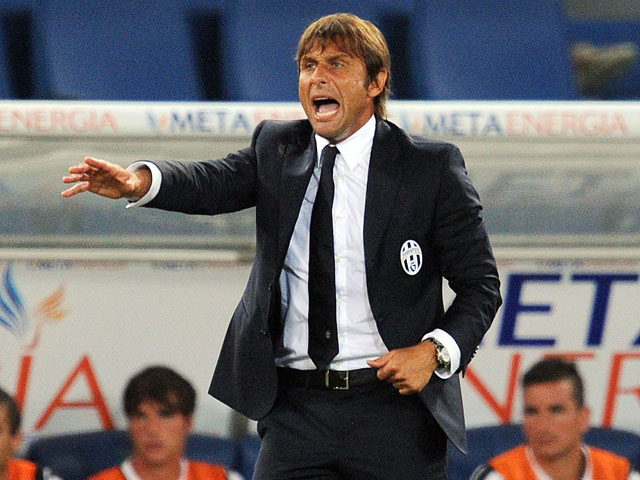 Antonio Conte head coach of Juventus during the TIM Supercup match between SS Lazio and FC Juventus at Olimpico Stadium on August 18, 2013