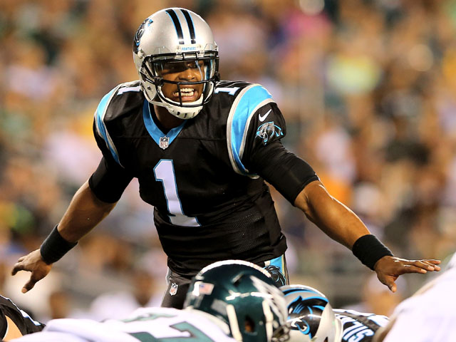 Cam Newton #1 of the Carolina Panthers calls out the play in the first half against the Philadelphia Eagles on August 15, 2013