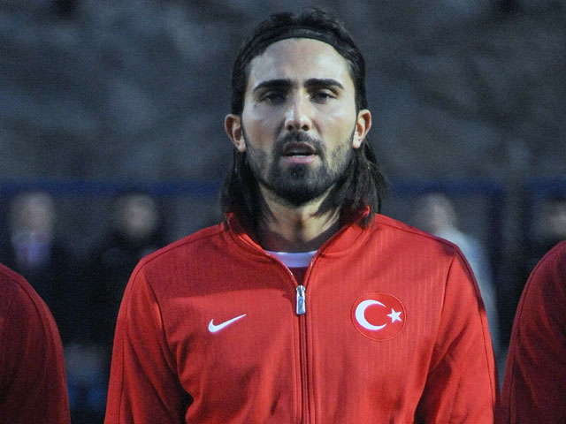 Turkish player defender Hasan Ali Kaldirim stands before a World Cup 2014 European qualifying, Group D football match against Andora on March 22, 2013