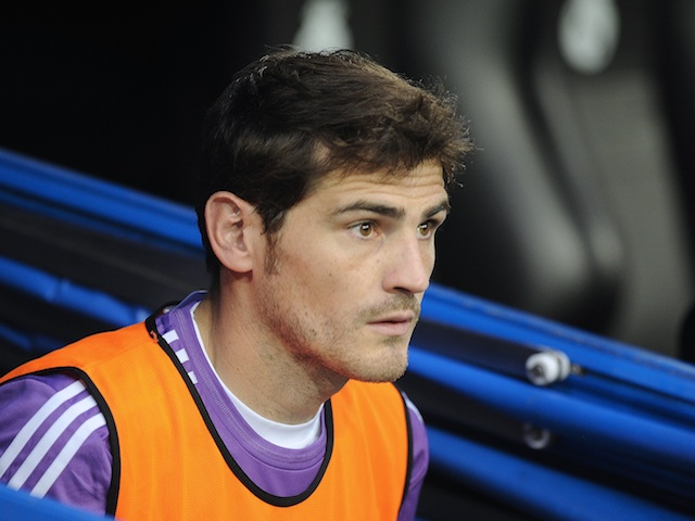 Real Madrid 'keeper Iker Casillas sits on the bench during a game with Betis on August 18, 2013