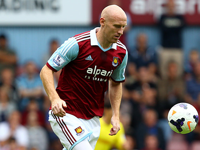 West Ham's James Colins in action during the match against Cardiff on August 17, 2013