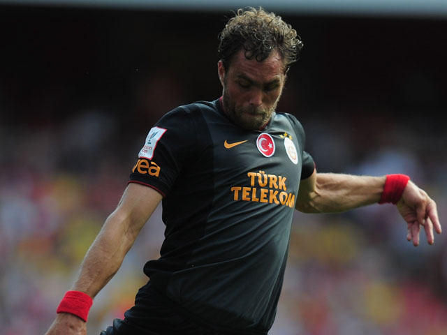 Johan Elmander of Galatasaray in action during the Emirates Cup match between Arsenal and Galatasaray at the Emirates Stadium on August 4, 2013