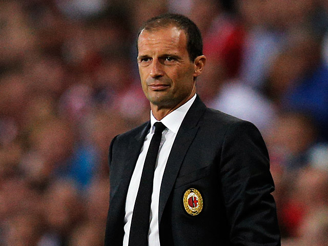 AC Milan manager Massimiliano Allegri on the touchline during the match against PSV Eindhoven on August 20, 2013