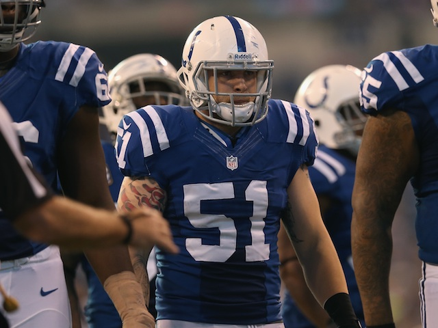 Colts' Pat Angerer watches on against Houston on December 30, 2012