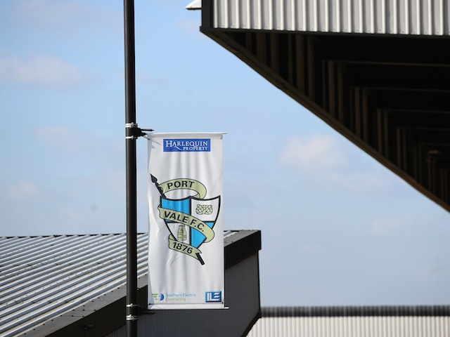 A club flag hangs at Vale Park on March 1, 2011