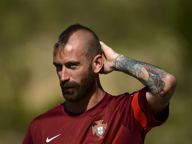 Portuguese midfielder Raul Meireles arrives for a training session at Praia Del Rey on June 4, 2013