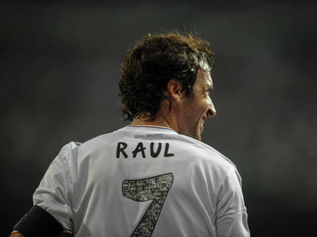 Real Madrid's forward Raul reacts during the Santiago Bernabeu trophy football match Real Madrid CF vs Al-Sadd SC at the Santiago Bernabeu stadium in Madrid on August 22, 2013