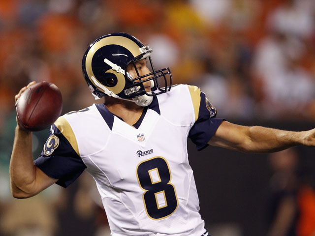 Quarterback Sam Bradford #8 of the St. Louis Rams throws to a receiver against the Cleveland Browns at FirstEnergy Stadium on August 8, 2013