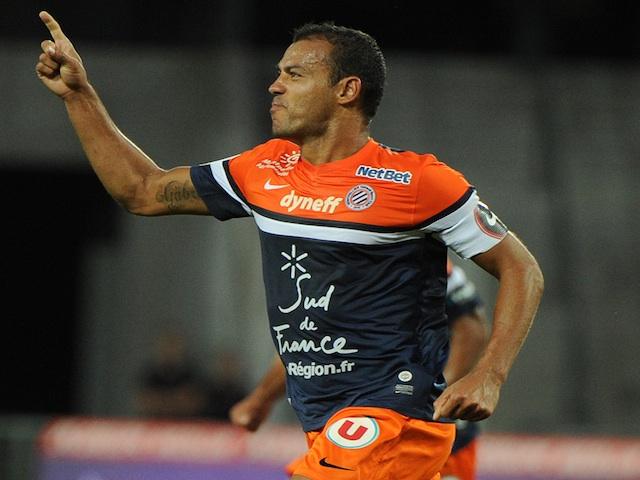 Montpellier's Vitorino Hilton celebrates a goal against Sochaux on August 24, 2013