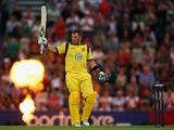 Aaron Finch of Australia celebrates making 150 runs during the 1st NatWest Series T20 match between England and Australia at Ageas Bowl on August 29, 2013