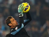 Lazio goalkeeper Albano Bizzarri in action during the match against Calcio Catania on January 8, 2013