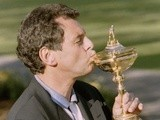European captain Bernard Gallacher kisses the Ryder Cup following victory on September 24, 1995