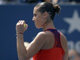 Flavia Pennetta celebrates her win against Sara Errani during the second round of the US Open on August 29, 2013