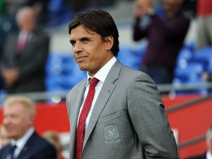 Wales national team manager Chris Coleman looks on during the International Friendly match between Wales v Ireland at the Cardiff City Stadium on August 14, 2013