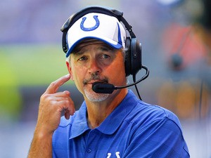 Chuck Pagano head coach of the Indianapolis Colts seen on the sidelines against the Buffalo Bills at Lucas Oil Stadium on August 11, 2013