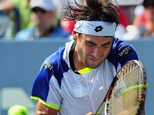 David Ferrer in action during the match against Roberto Bautista Agut during the second round of the US Open on August 29, 2013