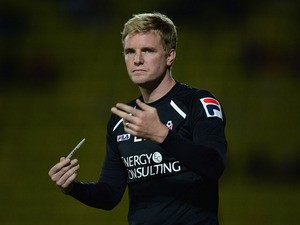 Eddie Howe of Bournemouth looks on during the Capital One Cup second round match between Watford and AFC Bournemouth at Vicarage Road on August 28, 2013