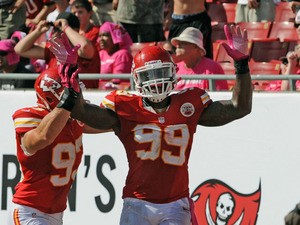 Linebacker Edgar Jones #99 of the Kansas City Chiefs celebrates after returning a fumble 11 yards for a touchdown against the Tampa Bay Buccaneers October 14, 2012
