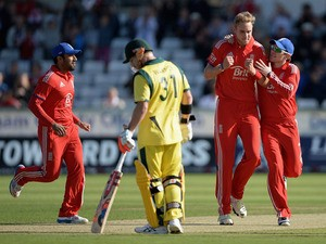 Stuart Broad of England celebrates dismissing Aaron Finch of Australia during the 2nd NatWest Series T20 match between England and Australia at Emirates Durham ICG on August 31, 2013