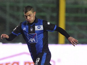 James Troisi of Atalanta BC in action during the TIM Cup match between Atalanta BC and AC Cesena at Stadio Atleti Azzurri d'Italia on November 28, 2012
