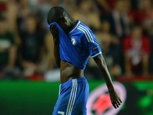 Chelsea midfielder Ramires leaves the pitch after being sent off against Bayern Munich on August 30, 2013