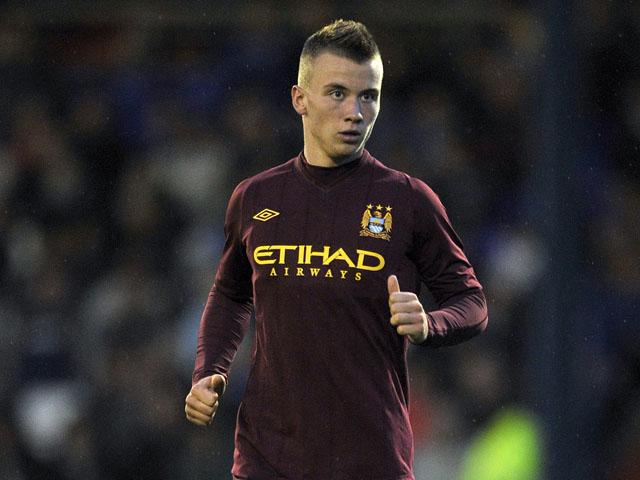 Albert Rusnak of Manchester City in action during the pre season friendly match between Oldham Athletic and Manchester City at Boundry Park on July 31, 2012