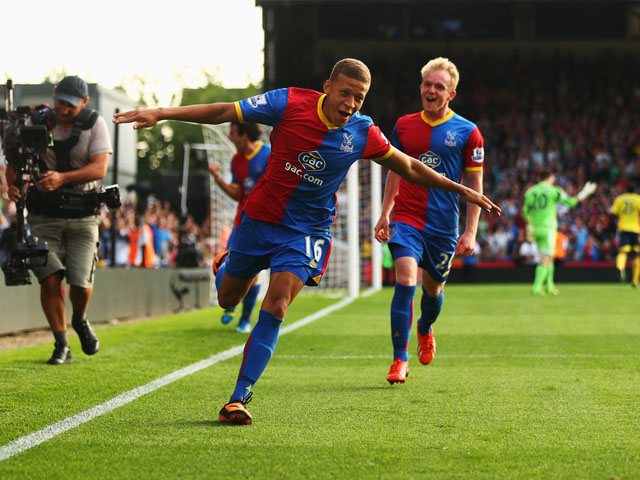 Dwight Gayle of Crystal Palace celebrates scoring his penalty during the Barclays Premier League match between Crystal Palace and Sunderland at Selhurst Park on August 31, 2013