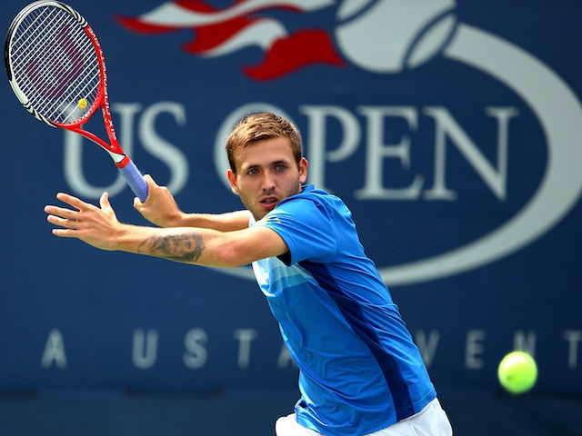 British qualifier Dan Evans plays a forehand on his way to a shock victory over Kei Nishikori in the first round of the US Open on August 26, 2013