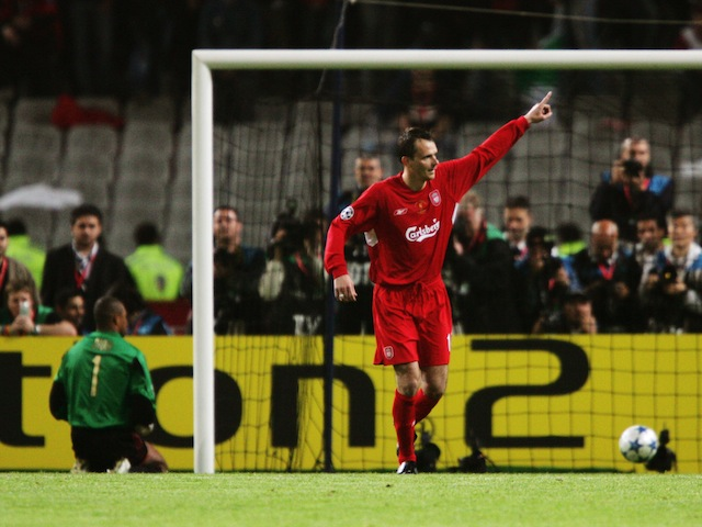 Liverpool's Dietmar Hamann celebrates scoring his penalty in the Champions League final against AC Milan on May 25, 2005