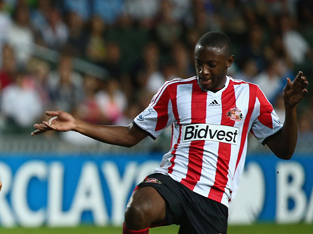Sunderland's El-Hadji Ba in action against Spurs during a friendly match on July 24, 2013