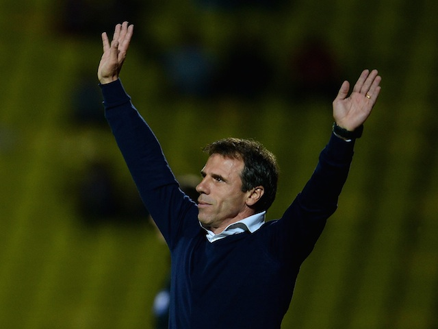 Watford manager Gianfranco Zola celebrates a goal from his side against Bournemouth on August 28, 2013