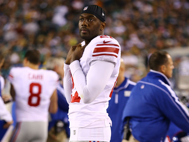 Kenny Phillips of the New York Giants looks on from the sidelines after injuring his right knee against the Philadelphia Eagles during their game at Lincoln Financial Field on September 30, 2012