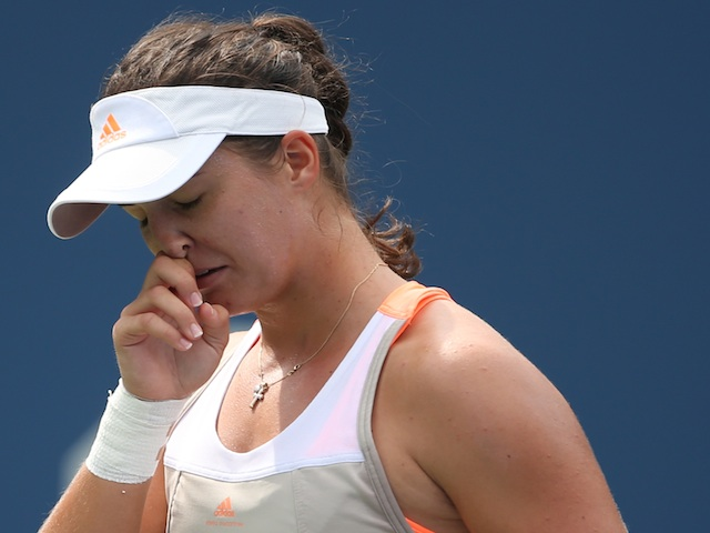 Laura Robson reacts during her loss to Li Na at the US Open on August 30, 2013