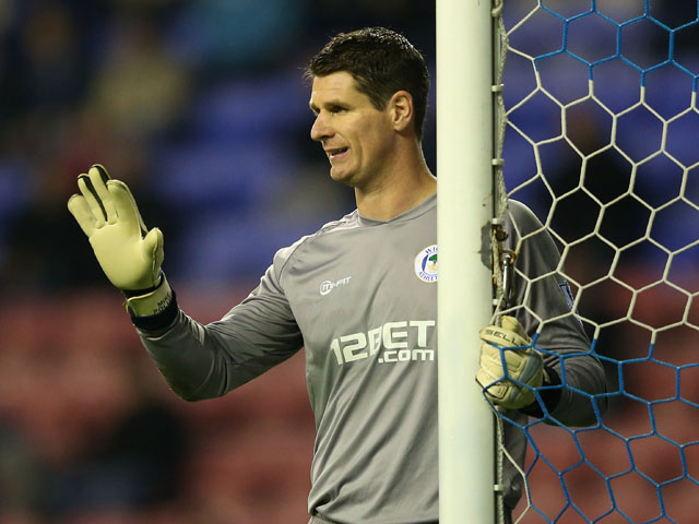 Mike Pollitt of Wigan Athletic during the Budweiser FA Cup Third Round match between Wigan Athletic and AFC Bournemouth at DW Stadium on January 5, 2013