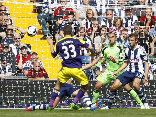 Swansea City's Welsh defender Ben Davies scores his goal past West Bromwich Albion's Welsh goalkeeper Boaz Myhill during the English Premier League football match between West Bromwich Albion and Swansea City at The Hawthorns in West Bromwich on September