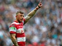 Josh Charnley of Wigan Warriors gives instructions during the Tetley's Challenge Cup Final between Wigan Warriors and Hull FC at Wembley Stadium on August 24, 2013