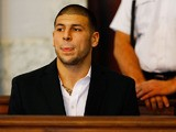 Aaron Hernandez sits in the courtroom of the Attleboro District Court during his hearing on August 22, 2013