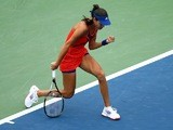 Ana Ivanovic celebrates a winner against Victoria Azarenka at the US Open on September 3, 2013