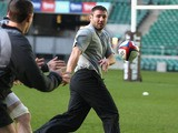 Ben Cohen of the Northern Hemisphere XV for the Help for Heroes Challenge passes the ball during the captain's run at Twickenham Stadium on December 2, 2011