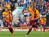 James Hanson of Bradford celebrates his goal during the Sky Bet League One match between Bradford City and Brentford at the Coral Windows Stadium on September 7, 2013