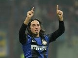 Ezequiel Schelotto celebrates scoring a goal for Inter Milan against rivals AC Milan at the San Siro on February, 24 2013.