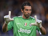 Juventus goalkeeper Gianluigi Buffon reacts during the seria A football match Sampdoria against Juventus, on August 24, 2013