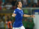 Italy's forward Alberto Gilardino celebrates after scoring during the FIFA World Cup 2014 qualifying football match Italy vs Bulgaria on September 6, 2013