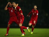 Cristiano Ronaldo of Portugal celebrates scoring during the FIFA 2014 World Cup Qualifying Group F match between Northern Ireland and Portugal at Windsor Park on September 6, 2013