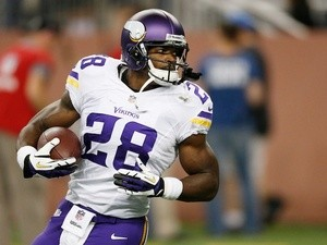 Vikings' RB Adrian Peterson in action against Detroit on September 8, 2013