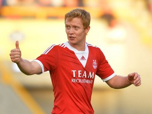 Barry Robson of Aberdeen during the Pre Season Friendly match between Aberdeen and FC Twente at Pittodrie Stadium on July 26, 2013