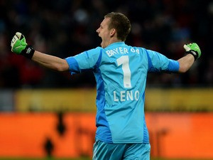Leverkusen's goalkeeper Bernd Leno celebrates during the German first division Bundesliga football match Bayer Leverkusen vs Eintracht Frankfurt in the German city of Leverkusen on January 19, 2013